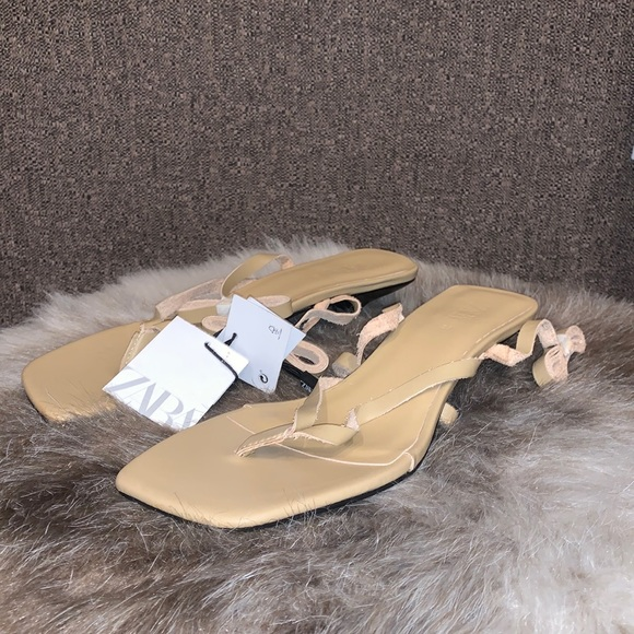 ZARA SQUARE TOED LONG STRAPPY THONG SANDALS BNWT